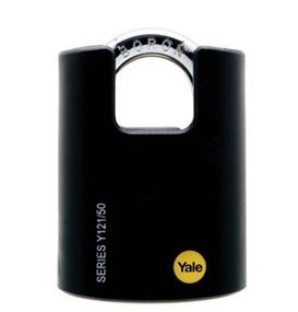 Yale Classic Series Outdoor Black Plastic Cover Brass Padlock (Boron Shackle) 40mm