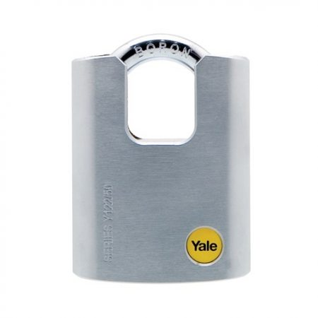 Y122/50/123 - Yale Silver Series Outdoor Brass/Satin Closed Shackle Padlock (Boron Shackle)